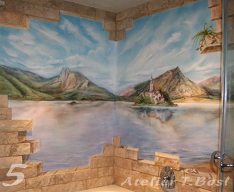 ... Airbrush Wandmalerei Im Bad Im Kurs